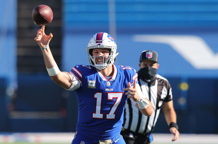 ORCHARD PARK, NEW YORK - NOVEMBER 08: Josh Allen #17 of the Buffalo Bills passes the ball during the first half against the Seattle Seahawks at Bills Stadium on November 08, 2020 in Orchard Park, New York. (Photo by Timothy T Ludwig/Getty Images)
