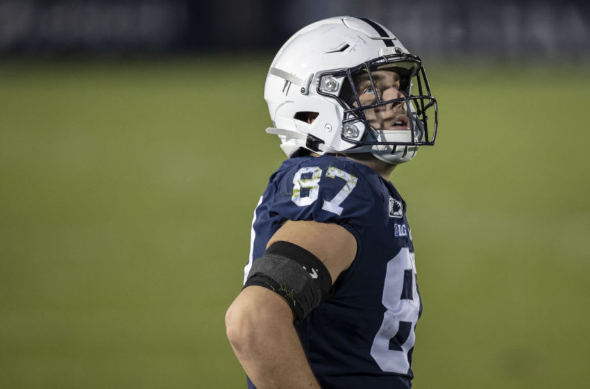 STATE COLLEGE, PA - NOVEMBER 7: Pat Freiermuth #87 of the Penn State Nittany Lions looks on during the second half of the game against the Maryland Terrapins at Beaver Stadium on November 7, 2020 in State College, Pennsylvania. (Photo by Scott Taetsch/Getty Images)
