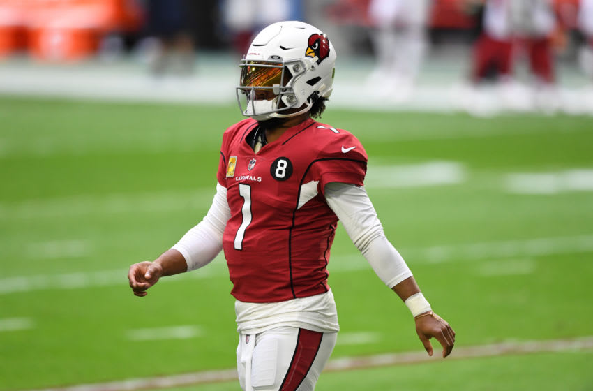 GLENDALE, ARIZONA - NOVEMBER 08: Kyler Murray #1 of the Arizona Cardinals prepares for a game against the Miami Dolphins at State Farm Stadium on November 08, 2020 in Glendale, Arizona. (Photo by Norm Hall/Getty Images)