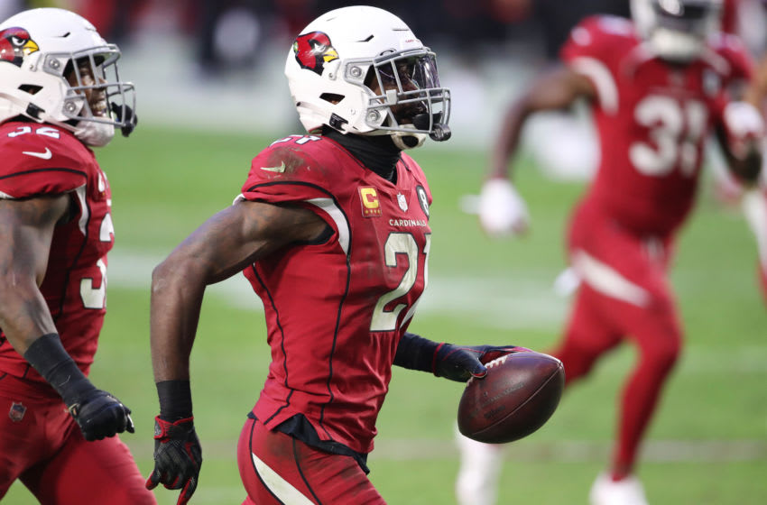 GLENDALE, ARIZONA - NOVEMBER 15: Cornerback Patrick Peterson #21 of the Arizona Cardinals reacts after making an interception during the second half against the Buffalo Bills at State Farm Stadium on November 15, 2020 in Glendale, Arizona. (Photo by Christian Petersen/Getty Images)