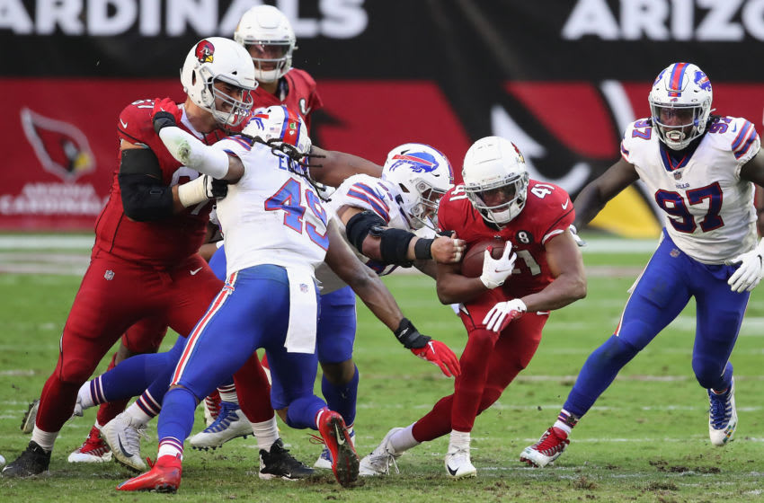 GLENDALE, ARIZONA - NOVEMBER 15: Running back Kenyan Drake #41 of the Arizona Cardinals rushes the football against the Arizona Cardinals during the NFL game at State Farm Stadium on November 15, 2020 in Glendale, Arizona. The Cardinals defeated the Bills 32-30. (Photo by Christian Petersen/Getty Images)