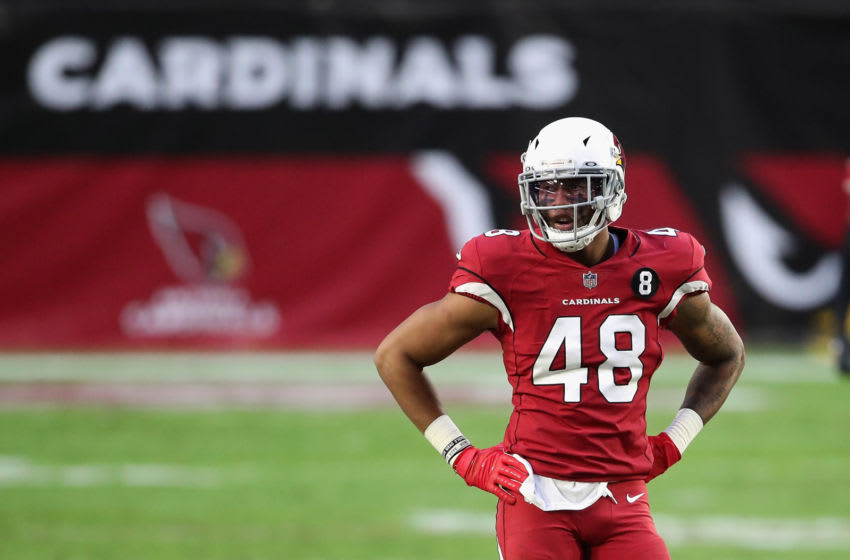 GLENDALE, ARIZONA - NOVEMBER 15: Linebacker Isaiah Simmons #48 of the Arizona Cardinals during the NFL game against the Buffalo Bills at State Farm Stadium on November 15, 2020 in Glendale, Arizona. The Cardinals defeated the Bills 32-30. (Photo by Christian Petersen/Getty Images)