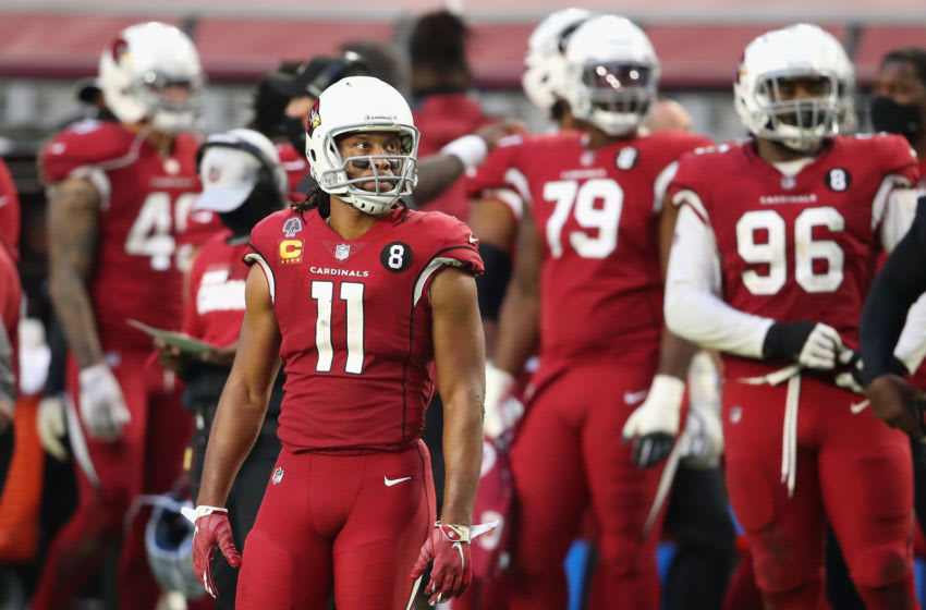 GLENDALE, ARIZONA - NOVEMBER 15: Wide receiver Larry Fitzgerald #11 of the Arizona Cardinals during the NFL game against the Buffalo Bills at State Farm Stadium on November 15, 2020 in Glendale, Arizona. The Cardinals defeated the Bills 32-30. (Photo by Christian Petersen/Getty Images)