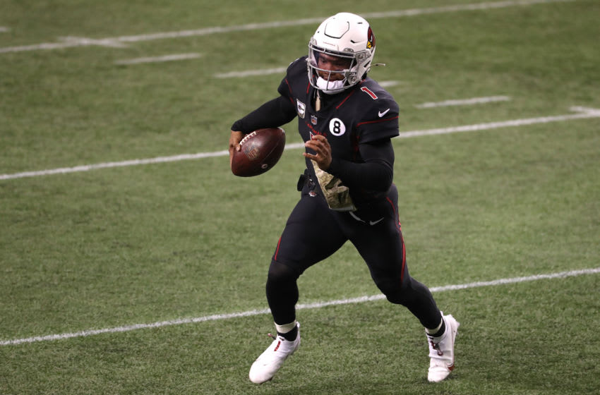 SEATTLE, WASHINGTON - NOVEMBER 19: Kyler Murray #1 of the Arizona Cardinals runs with the ball in the fourth quarter against the Seattle Seahawks at Lumen Field on November 19, 2020 in Seattle, Washington. (Photo by Abbie Parr/Getty Images)