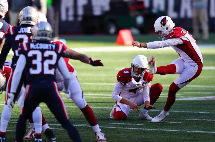 FOXBOROUGH, MASSACHUSETTS - NOVEMBER 29: Zane Gonzalez #5 of the Arizona Cardinals kicks a field goal against the New England Patriots during the first quarter of the game at Gillette Stadium on November 29, 2020 in Foxborough, Massachusetts. (Photo by Adam Glanzman/Getty Images)