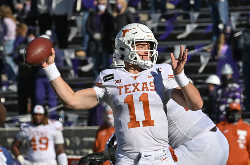 MANHATTAN, KS - DECEMBER 05: Quarterback Sam Ehlinger #11 of the Texas Longhorns throws a pass against the Kansas State Wildcats during the first half at Bill Snyder Family Football Stadium on December 5, 2020 in Manhattan, Kansas. (Photo by Peter G. Aiken/Getty Images)