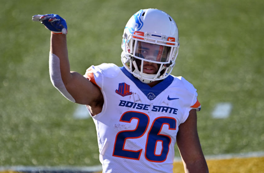 LAS VEGAS, NEVADA - DECEMBER 19: Cornerback Avery Williams #26 of the Boise State Broncos looks on in the first half of the Mountain West Football Championship against the San Jose State Spartans at Sam Boyd Stadium on December 19, 2020 in Las Vegas, Nevada. San Jose State won 34-20. (Photo by David J. Becker/Getty Images)