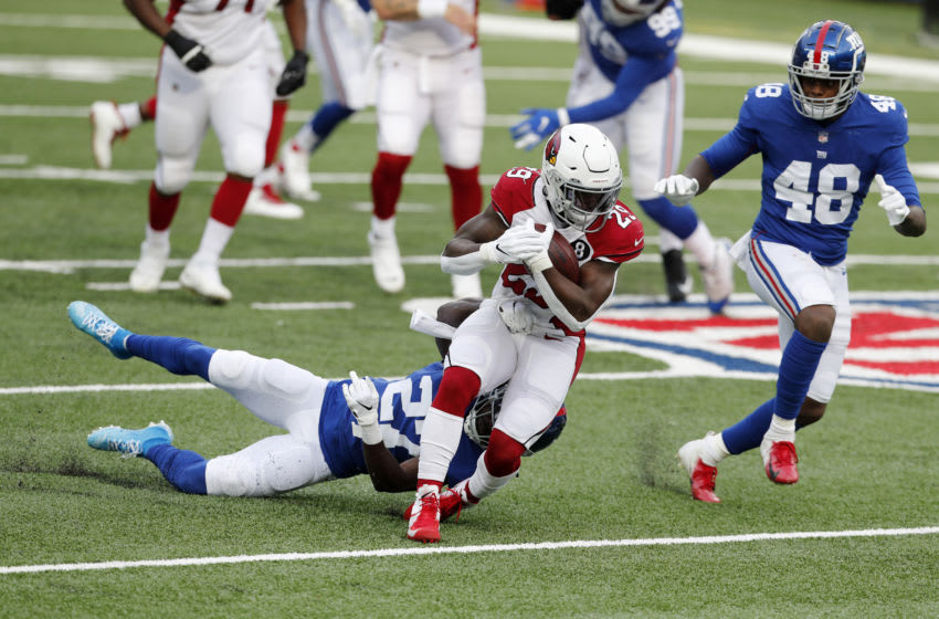EAST RUTHERFORD, NEW JERSEY - DECEMBER 13: (NEW YORK DAILIES OUT) Chase Edmonds #29 of the Arizona Cardinals in action against the New York Giants at MetLife Stadium on December 13, 2020 in East Rutherford, New Jersey. The Cardinals defeated the Giants 26-7. (Photo by Jim McIsaac/Getty Images)