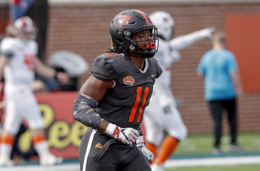 MOBILE, AL - JANUARY 30: Linebacker Hamilcar Rashed Jr. #11 from Oregon State of the National Team during the 2021 Resse's Senior Bowl at Hancock Whitney Stadium on the campus of the University of South Alabama on January 30, 2021 in Mobile, Alabama. The National Team defeated the American Team 27-24. (Photo by Don Juan Moore/Getty Images)