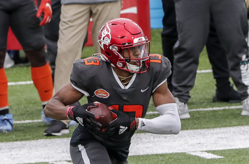 MOBILE, AL - JANUARY 30: Wide Reciever Dez Fitzpatrick #13 from Louisville of the National Team during the 2021 Resse's Senior Bowl at Hancock Whitney Stadium on the campus of the University of South Alabama on January 30, 2021 in Mobile, Alabama. The National Team defeated the American Team 27-24. (Photo by Don Juan Moore/Getty Images)
