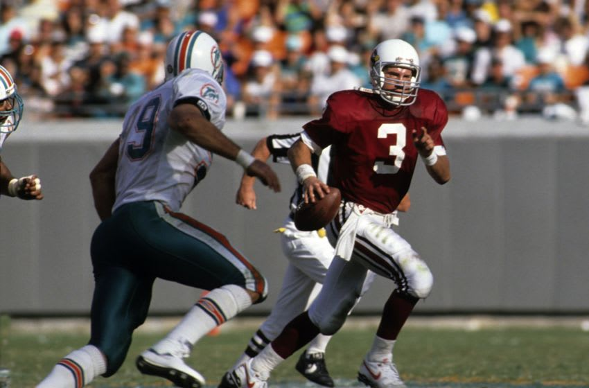 MIAMI, FL - NOVEMBER 4, 1990: Timm Rosenbach #3 of the Phoenix Cardinals scrambles during a game against the Miami Dolphins on November 4, 1990 in Miami, Florida. (Photo by Ronald C. Modra/Getty Images)