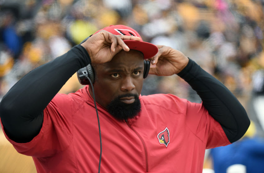 PITTSBURGH, PA - OCTOBER 18: Defensive line coach Brentson Buckner of the Arizona Cardinals looks on from the sideline during a game against the Pittsburgh Steelers at Heinz Field on October 18, 2015 in Pittsburgh, Pennsylvania. The Steelers defeated the Cardinals 25-13. (Photo by George Gojkovich/Getty Images)