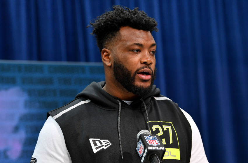 INDIANAPOLIS, INDIANA - FEBRUARY 26: Joshua Jones #OL27 of Houston interviews during the second day of the 2020 NFL Scouting Combine at Lucas Oil Stadium on February 26, 2020 in Indianapolis, Indiana. (Photo by Alika Jenner/Getty Images)