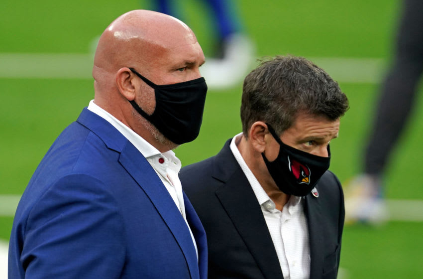 Jan 3, 2021; Inglewood, California, USA; Arizona Cardinals owner Michael J. Bidwill (R) talks with Cardinals general manager Steve Keim (L) before their game against the Los Angeles Rams at SoFi Stadium. Mandatory Credit: Kirby Lee-USA TODAY Sports