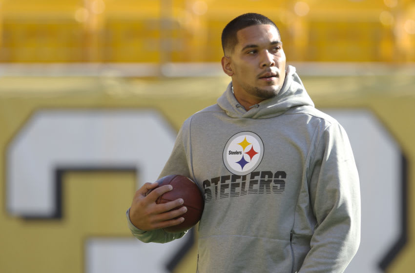 Nov 10, 2019; Pittsburgh, PA, USA; Pittsburgh Steelers running back James Conner (30) warms up before playing the Los Angeles Rams at Heinz Field. Mandatory Credit: Charles LeClaire-USA TODAY Sports