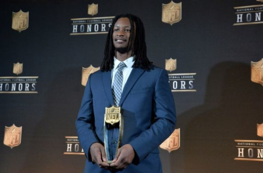 Feb 6, 2016; San Francisco, CA, USA; Los Angeles Rams running back Todd Gurley poses with the AP Offensive Rookie of the Year trophy at the NFL Honors press room at Bill Graham Civic Auditorium. Mandatory Credit: Kirby Lee-USA TODAY Sports