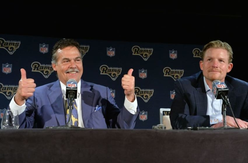 Apr 28, 2016; Los Angeles, CA, USA; Los Angeles Rams coach Jeff Fisher (left) and general manager Les Snead at press conference at Courtyard L.A. Live after selecting quarterback Jared Goff (not pictured) as the No. 1 pick in the 2016 NFL Draft. Mandatory Credit: Kirby Lee-USA TODAY Sports