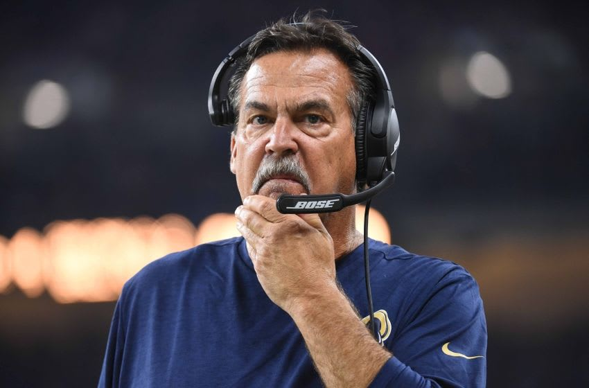 Oct 16, 2016; Detroit, MI, USA; Los Angeles Rams head coach Jeff Fisher during the game against the Detroit Lions at Ford Field. Detroit won 31-28. Mandatory Credit: Tim Fuller-USA TODAY Sports