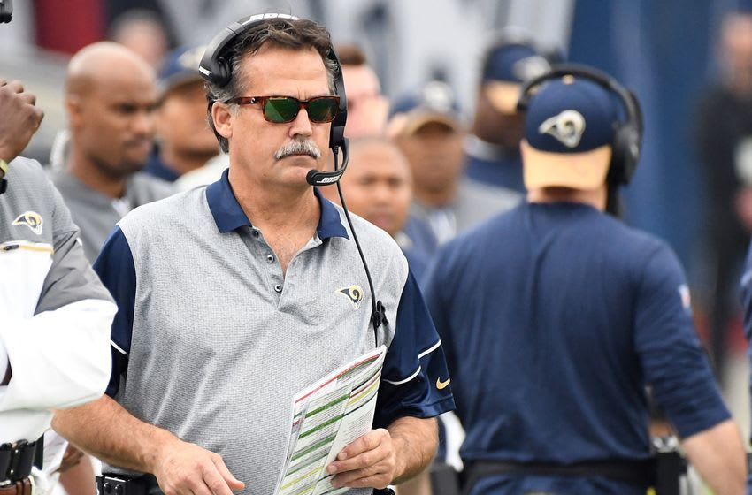 Dec 11, 2016; Los Angeles, CA, USA; Los Angeles Rams head coach Jeff Fisher looks on in the first half of the game against the Atlanta Falcons at Los Angeles Memorial Coliseum. Mandatory Credit: Jayne Kamin-Oncea-USA TODAY Sports
