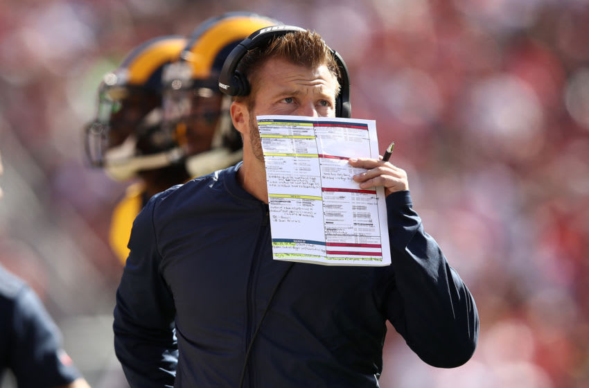 SANTA CLARA, CA - OCTOBER 21: Head coach Sean McVay of the Los Angeles Rams calls a play against the San Francisco 49ers during their NFL game at Levi's Stadium on October 21, 2018 in Santa Clara, California. (Photo by Ezra Shaw/Getty Images)