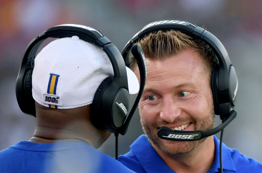 LOS ANGELES, CALIFORNIA - AUGUST 24: Head coach Sean McVay of the Los Angeles Rams smiles on the sidelines during a preseason game against the Denver Broncos at Los Angeles Memorial Coliseum on August 24, 2019 in Los Angeles, California. (Photo by Harry How/Getty Images)