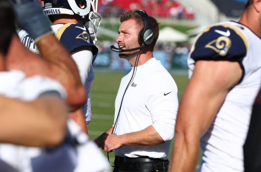 LOS ANGELES, CALIFORNIA - SEPTEMBER 29: Head coach Sean McVay of the Los Angeles Rams chats with his players during the fourth quarter against the Tampa Bay Buccaneers at Los Angeles Memorial Coliseum on September 29, 2019 in Los Angeles, California. (Photo by Joe Scarnici/Getty Images)