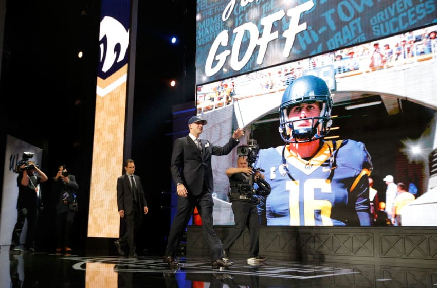 CHICAGO, IL - APRIL 28: (L-R) Jared Goff of the California Golden Bears walks on stage after being picked #1 overall by the Los Angeles Rams during the first round of the 2016 NFL Draft at the Auditorium Theatre of Roosevelt University on April 28, 2016 in Chicago, Illinois. (Photo by Jon Durr/Getty Images)
