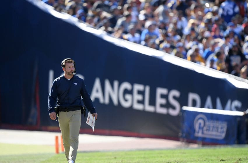 LOS ANGELES, CA - SEPTEMBER 16: Head coach Sean McVay of the Los Angeles Rams paces the sidelines during a 34-0 win over the Arizona Cardinals at Los Angeles Memorial Coliseum on September 16, 2018 in Los Angeles, California. (Photo by Harry How/Getty Images)
