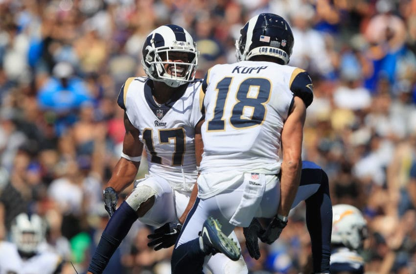LOS ANGELES, CA - SEPTEMBER 23: Robert Woods #17 of the Los Angeles Rams celebrates his touchdown with teammate Cooper Kupp #18 during the first quarter of the game against the Los Angeles Chargers at Los Angeles Memorial Coliseum on September 23, 2018 in Los Angeles, California. (Photo by Sean M. Haffey/Getty Images)