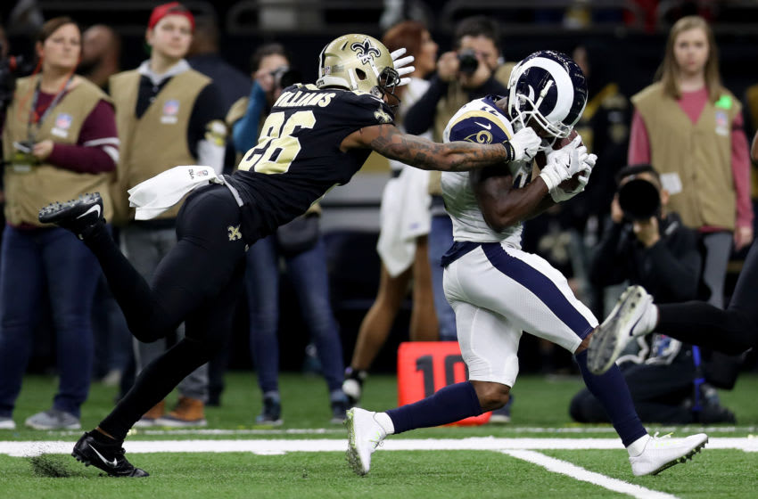 NEW ORLEANS, LOUISIANA - JANUARY 20: Brandin Cooks #12 of the Los Angeles Rams makes a catch over P.J. Williams #26 of the New Orleans Saints in the NFC Championship game at the Mercedes-Benz Superdome on January 20, 2019 in New Orleans, Louisiana. (Photo by Jonathan Bachman/Getty Images)