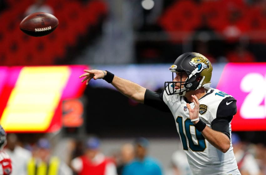 ATLANTA, GA - AUGUST 31: Brandon Allen #10 of the Jacksonville Jaguars passes against the Atlanta Falcons at Mercedes-Benz Stadium on August 31, 2017 in Atlanta, Georgia. (Photo by Kevin C. Cox/Getty Images)