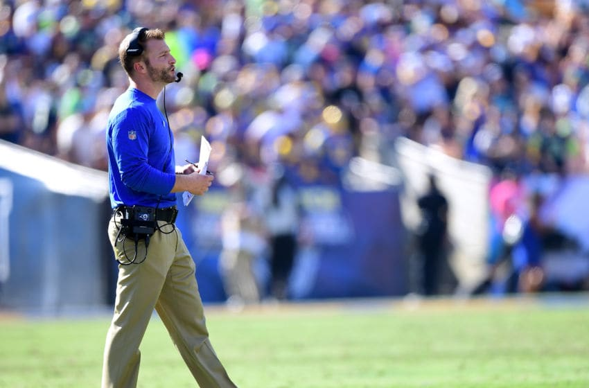 LOS ANGELES, CA - OCTOBER 08: Head coach Sean McVay of the Los Angeles Rams on the sidelines during the game against the Seattle Seahawks at Los Angeles Memorial Coliseum on October 8, 2017 in Los Angeles, California. (Photo by Harry How/Getty Images)