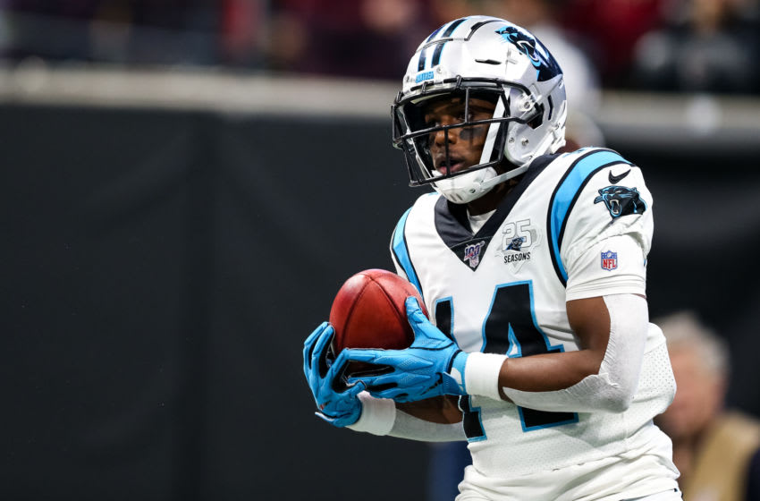 ATLANTA, GA - DECEMBER 08: Greg Dortch #14 of the Carolina Panthers catches the ball on a punt return during the game against the Atlanta Falcons at Mercedes-Benz Stadium on December 8, 2019 in Atlanta, Georgia. (Photo by Carmen Mandato/Getty Images)