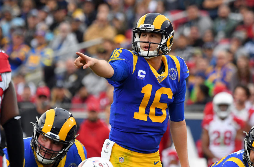 LOS ANGELES, CA - DECEMBER 29: Quarterback Jared Goff #16 of the Los Angeles Rams calls a play during the game against the Arizona Cardinals at the Los Angeles Memorial Coliseum on December 29, 2019 in Los Angeles, California. (Photo by Jayne Kamin-Oncea/Getty Images)