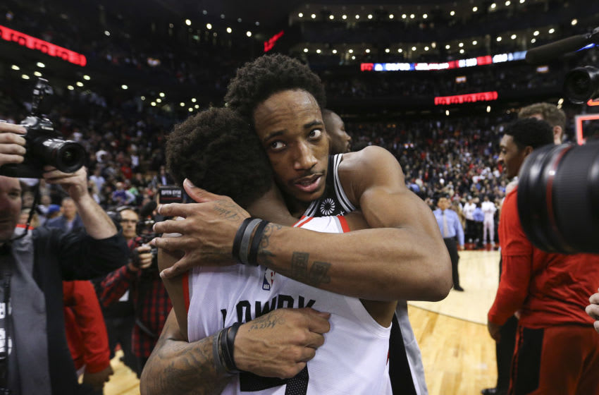 TORONTO, ON - February 22: San Antonio Spurs guard DeMar DeRozan (10) and Kyle Lowry (7). The Toronto Raptors beat the San Antonio Spurs 118-117 in NBA basketball action at the Scotiabank arena in Toronto. The game marks the first time former Raptor star DeMar DeRozan was back playing in Toronto since his trade. (Richard Lautens/Toronto Star via Getty Images)