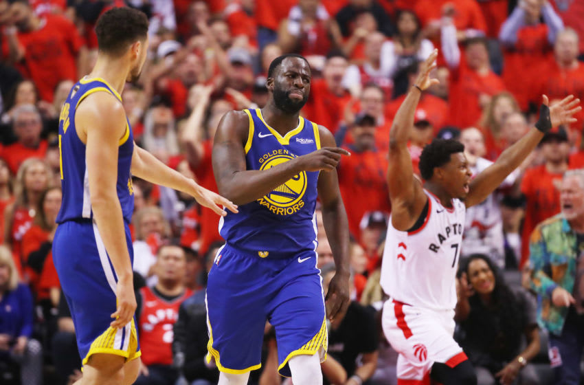 TORONTO, ONTARIO - JUNE 10: Draymond Green #23 of the Golden State Warriors reacts to a foul call against the Toronto Raptors in the first half during Game Five of the 2019 NBA Finals at Scotiabank Arena on June 10, 2019 in Toronto, Canada. NOTE TO USER: User expressly acknowledges and agrees that, by downloading and or using this photograph, User is consenting to the terms and conditions of the Getty Images License Agreement. (Photo by Gregory Shamus/Getty Images)
