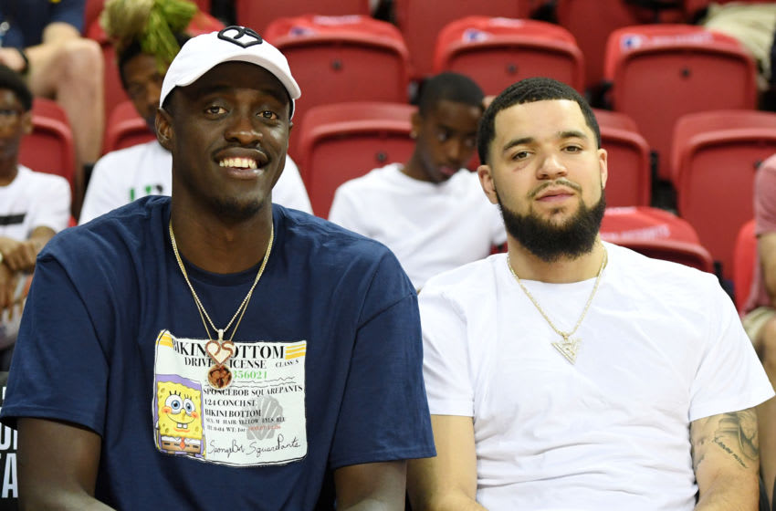 LAS VEGAS, NEVADA - JULY 06: Pascal Siakam (L) and Fred VanVleet of the Toronto Raptors attend a game between the Raptors and the Golden State Warriors during the 2019 NBA Summer League at the Thomas & Mack Center on July 6, 2019 in Las Vegas, Nevada. NOTE TO USER: User expressly acknowledges and agrees that, by downloading and or using this photograph, User is consenting to the terms and conditions of the Getty Images License Agreement. (Photo by Ethan Miller/Getty Images)