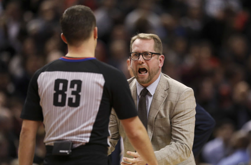 TORONTO, ON - December 3 In the second half, Raptors Head Coach Nick Nurse has yet another complaint to the officials. The Toronto Raptors lost to the Miami Heat 110 to 121 at the Scotiabank arena in NBA basketball action. December 3, 2019 (Richard Lautens/Toronto Star via Getty Images)