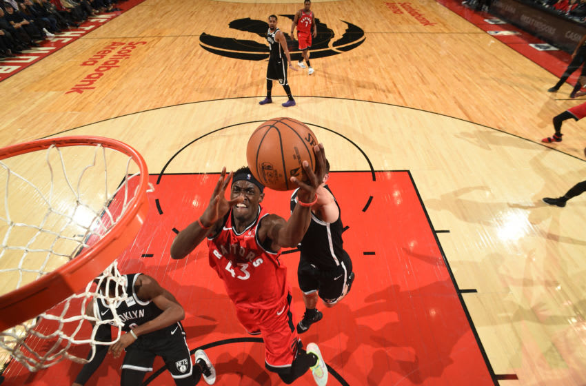 TORONTO, CANADA - DECEMBER 14: Pascal Siakam #43 of the Toronto Raptors shoots the ball against the Brooklyn Nets on December 14, 2019 at the Scotiabank Arena in Toronto, Ontario, Canada. NOTE TO USER: User expressly acknowledges and agrees that, by downloading and or using this Photograph, user is consenting to the terms and conditions of the Getty Images License Agreement. Mandatory Copyright Notice: Copyright 2019 NBAE (Photo by Ron Turenne/NBAE via Getty Images)