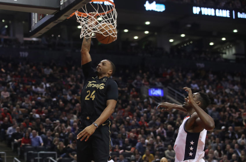 TORONTO, ON- JANUARY 17 - Toronto Raptors guard Norman Powell (24) dunks as the Toronto Raptors play the Washington Wizards at Scotiabank Arena in Toronto. January 17, 2020. (Steve Russell/Toronto Star via Getty Images)