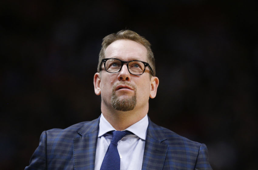 MIAMI, FLORIDA - JANUARY 02: Head coach Nick Nurse of the Toronto Raptors reacts against the Miami Heat during the second half at American Airlines Arena on January 02, 2020 in Miami, Florida. NOTE TO USER: User expressly acknowledges and agrees that, by downloading and/or using this photograph, user is consenting to the terms and conditions of the Getty Images License Agreement. (Photo by Michael Reaves/Getty Images)