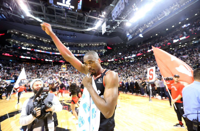 TORONTO, ON- FEBRUARY 5 - Toronto Raptors center Serge Ibaka (9) pumps his fist as the Toronto Raptors beat the Indiana Pacers 119-118 to extend their winning streak to franchise record 12 games at Scotiabank Arena in Toronto. February 5, 2020. (Steve Russell/Toronto Star via Getty Images)