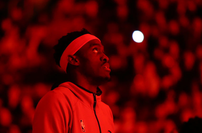 TORONTO, ON - FEBRUARY 10: Pascal Siakam #43 of the Toronto Raptors looks on during player introductions prior to an NBA game against the Minnesota Timberwolves at Scotiabank Arena on February 10, 2020 in Toronto, Canada. NOTE TO USER: User expressly acknowledges and agrees that, by downloading and or using this photograph, User is consenting to the terms and conditions of the Getty Images License Agreement. (Photo by Vaughn Ridley/Getty Images)