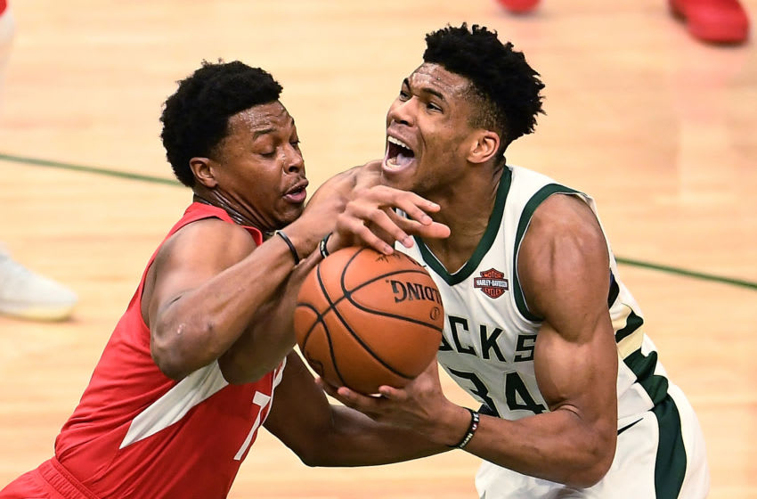 Toronto Raptors - Kyle Lowry and Giannis (Photo by Stacy Revere/Getty Images)