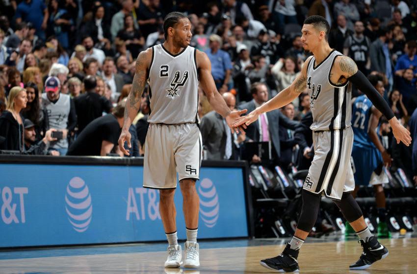 San Antonio Spurs - Kawhi Leonard and Dann Green (Photos by Mark Sobhani/NBAE via Getty Images)