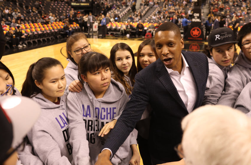 TORONTO, ON- JANUARY 26 - Toronto.Toronto Raptors President Masai Ujiri meets with kids from La Loche at centre court for feature by Arthur. (Rene Johnston/Toronto Star via Getty Images)