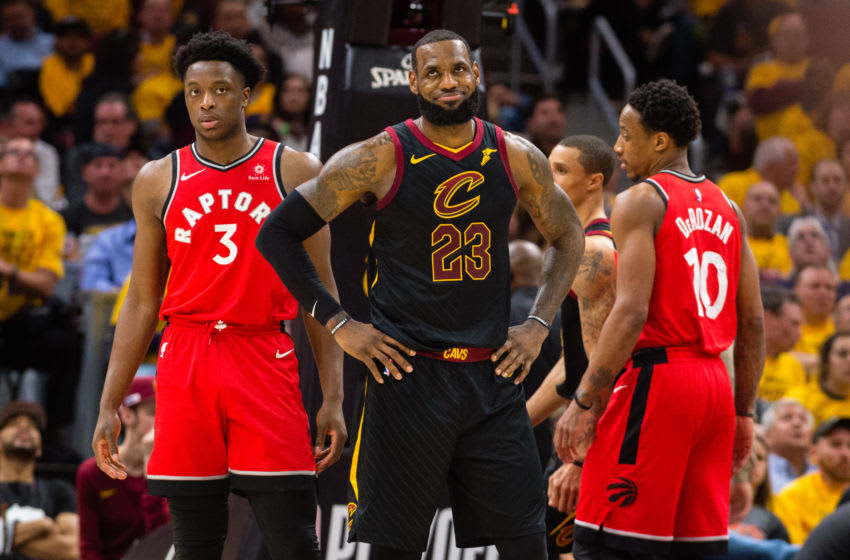 Cleveland Cavaliers LeBron James and Toronto Raptors OG Anunoby - (Photo by Jason Miller/Getty Images)