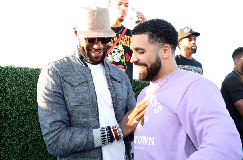 TORONTO, ON - AUGUST 05: (L-R) Lebron James and Drake attend the Drake And Lebron James Pool Party In Toronto For Caribana 2017 on August 5, 2017 in Toronto, Canada. (Photo by Johnny Nunez/Getty Images for Remy Martin)