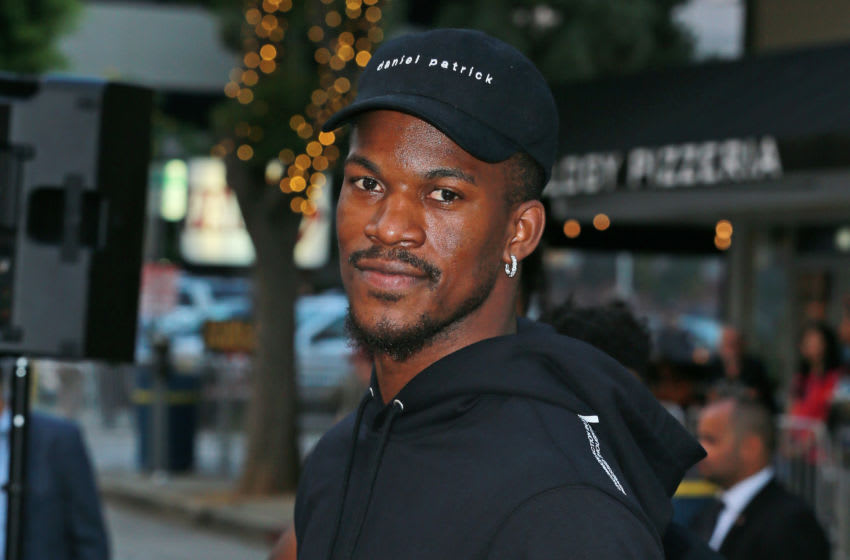 WESTWOOD, CA - AUGUST 09: NBA player Jimmy Butler attends the Premiere Of STX Films'