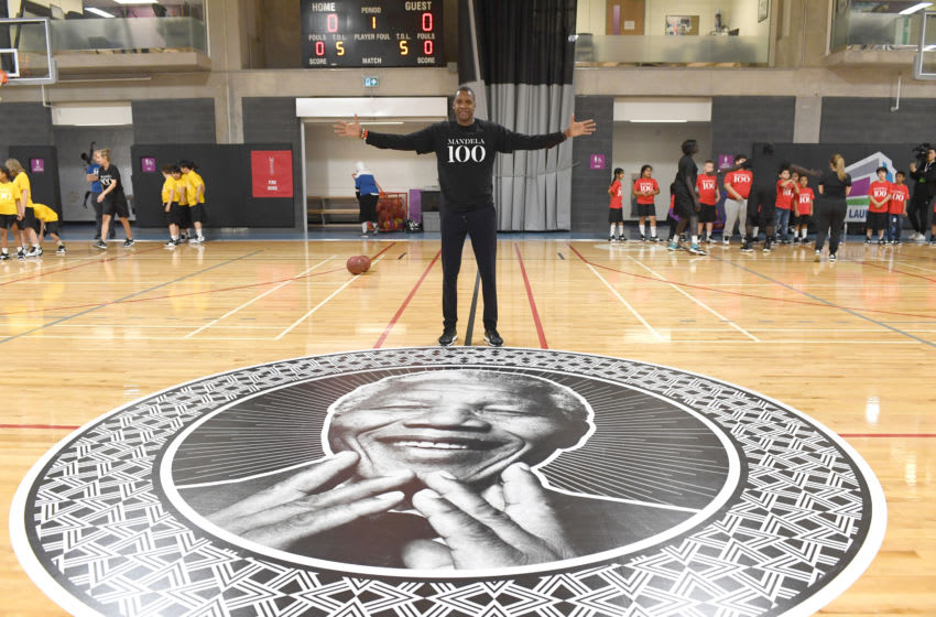 TORONTO, CANADA - December 5: Masai Ujiri attends the Giants of Africa camp with Chris Bosh and Masai Ujiri at the MLSE Launchpad in Toronto, Ontario, Canada on December 5, 2018. NOTE TO USER: User expressly acknowledges and agrees that, by downloading and/or using this photograph, user is consenting to the terms and conditions of the Getty Images License Agreement. Mandatory Copyright Notice: Copyright 2018 NBAE (Photo by Ron Turenne/NBAE via Getty Images)